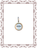 """disc 1-C:  3/8"""" silver disc with gold rim"""