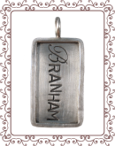 tag 3-B large silver tag with silver rim